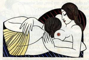 A hand-tinted version of the Eric Gill woodcut in an edition of The Song of Songs, published by the Golden Cockerel Press, 1925.