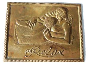 Another view of the brass plaque based on the Eric Gill woodcut in The Song of Songs, published by the Golden Cockerel Press, 1925. For sale in my Etsy shop. Click on photo for details.