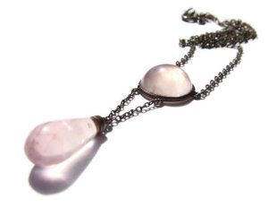 Rose quartz Arts and Crafts pendant necklace, probably German. For sale in my Etsy shop: click on photo for details.
