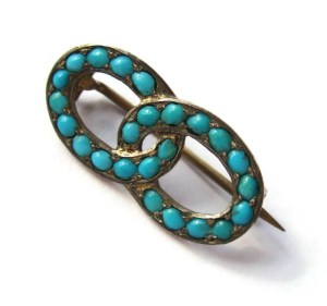 Edwardian Persian turquoise brooch. For sale in my Etsy shop: click on photo for details.