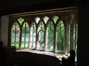 The deliberately wonky, shonky windows of the Gothic Cottage.