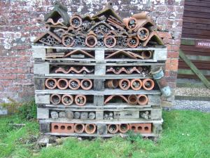A wonderful bee, insect and other critter hotel made out of pallets, old terracotta roof tiles and ridge tiles and bamboo, among other things.