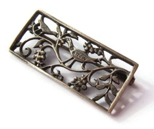 Art Deco silver brooch by H Teguy, France, 1920s, Basque jewellery. For sale in my Etsy shop. Click on photo for details.