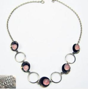 N E From rose quartz necklace.