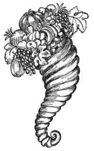 A horn of plenty (Cornucopia).