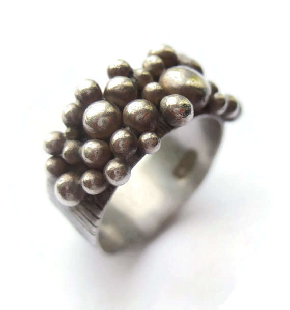 Sterling silver ring with granulated bobbles, made in London in 1973. For sale in my Etsy shop: click on photo for details.