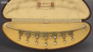 Arts and Crafts fringe necklace, c. 1905, in its original Liberty case. I am sure this is designed by Jessie M King.