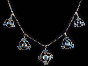 Jessie M King. Moonstone and enamel necklace.