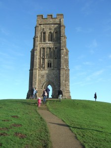The tower of the Church of St Michael on top of Glastonbury Tor.