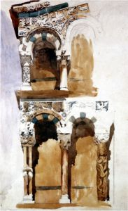 John Ruskin. Part of the Façade, San Michele, Lucca. 1845, pencil and watercolour on pale cream paper, 33 x 23.3 cm.