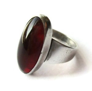 Vintage N E From Baltic amber modernist ring.