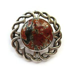 Moss agate Celtic brooch by Thomas Kerr Ebbutt, hallmarked Edinburgh 1965.