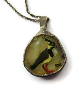Vintage handpainted lapwing pendant in sterling silver handmade surround with chain. For sale in my Etsy shop: click on photo for details.