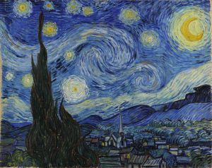 The Starry Night, Vincent Van Gogh, June 1889. Museum of Modern Art, New York.