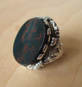 Zoltan White & Co Arts and Crafts bloodstone ring. For sale in my Etsy shop: click on photo for details.