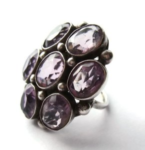 Huge seven stone amethyst Late Arts and Crafts ring. For sale in my Etsy shop: click on photo for details.