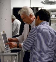 Rob Chatburn programming a mechanical ventilator at Cleveland Clinic Simulation Day.