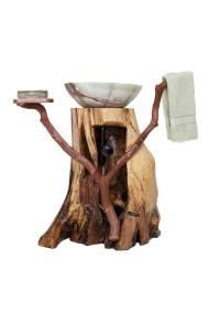 Chestnut Oak Pedestal Sink - Back