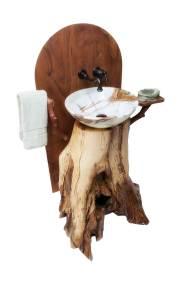 Chestnut Oak Pedestal Sink - Quarter view - right