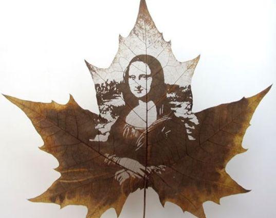 eco-arte, las hojas, el arte sostenible, las hojas recicladas, grabado, hojas de tallado