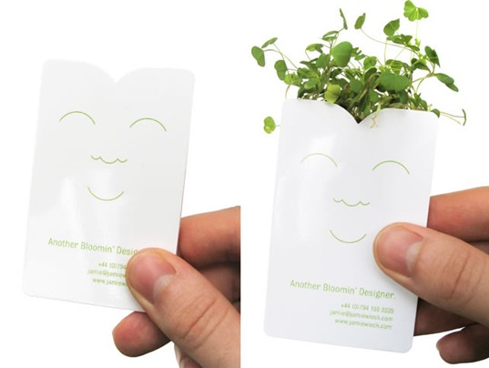 Sprouting business cards? so creative! (courtesy of ihabit.com)