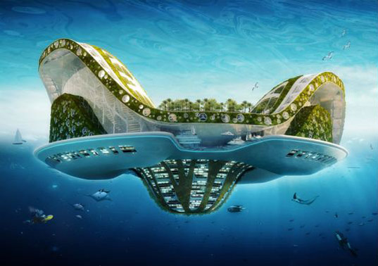lilypad, green floating city, floating eco utopia, lilypage city, floating cities, biomimicry inspired city, Vincent Callebaut, lilypad floating city, global warming solution, rising seas concept, refugee city, climate refugee