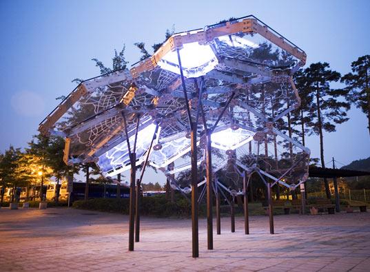 sustainable design, green art, environmental art, light installation, living light, seoul, south korea, air quality
