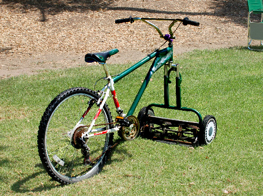 MOWERCYCLE! Human powered lawn-mower, bike lawn mower, bike mower, bicycle lawnmower, human powered lawn mower, DIY design