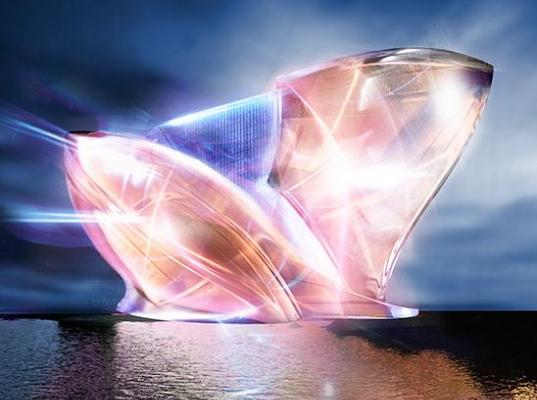 sustainable design, green design, blue crystal, dubai, iceburg, glacier, greenwashing, solar power, photovoltaics, resort