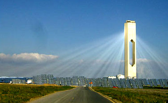 spanish solar tower, seville green electricity, Sevilla PV, Europe's First, Solucar, photovoltaics, solar powar in Spain, Seveille Solar power tower