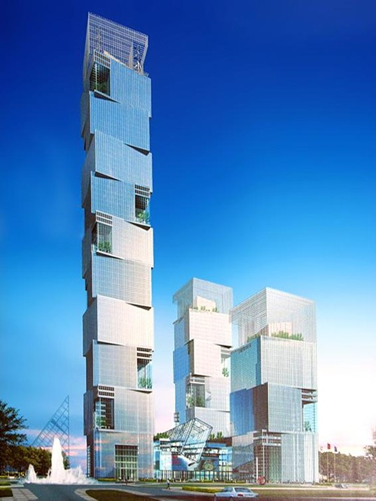 TEDA Towers, Tianjin, China, Atkins, Vertical Wind-Powered Turbines, Sky-Gardens
