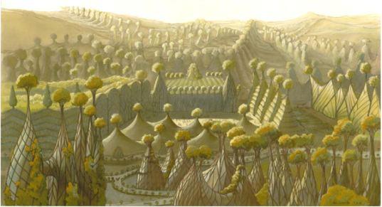 ville tissé, ville végétale, figue, arbres, végétaux, bruxelles, art utopique, conception utopique, utopie, paradis
