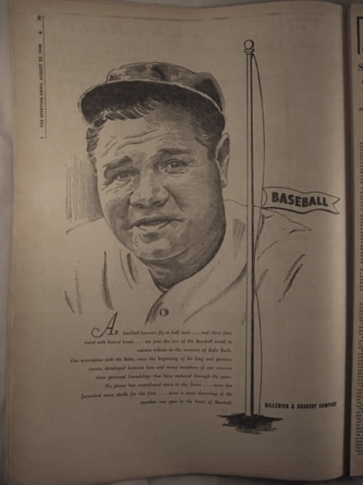 Hillerich and Bradsby Babe Ruth Memorial Ad