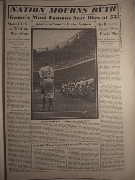 First page of The Sporting News special section covering the death of Babe Ruth