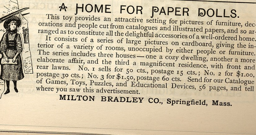 Antique Milton Bradley Dollhouse Ad