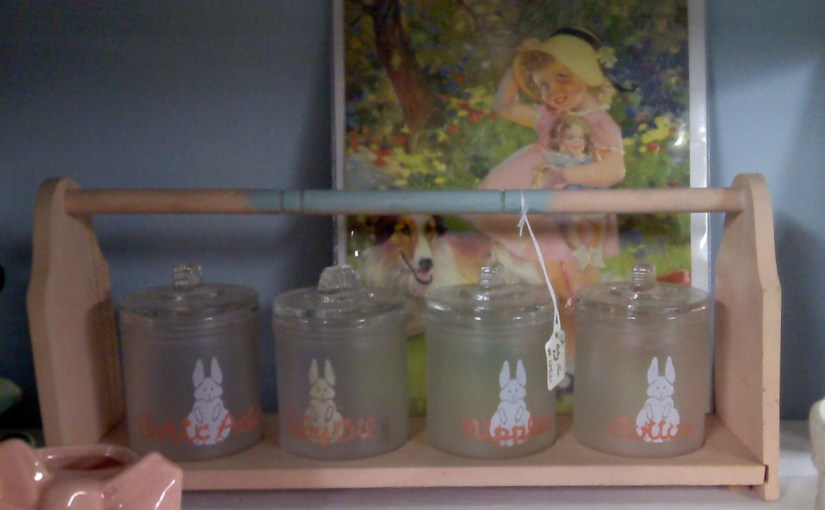 Sweet Vintage Glass Storage Jars For The Nursery