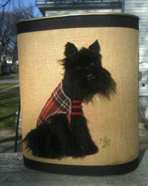 retro kitsch trash can huge scottie applique