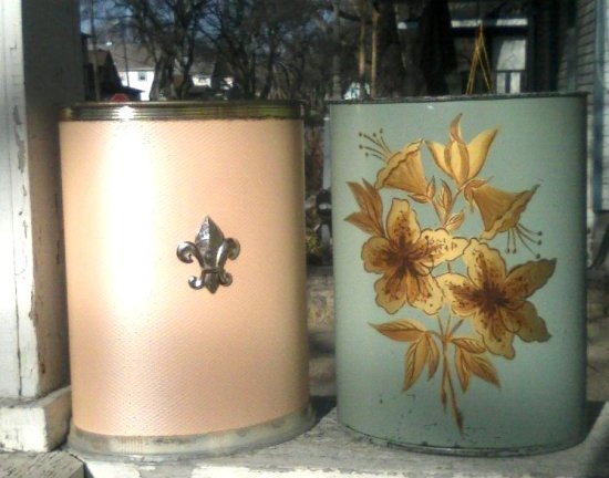 vintage metalware wastebaskets