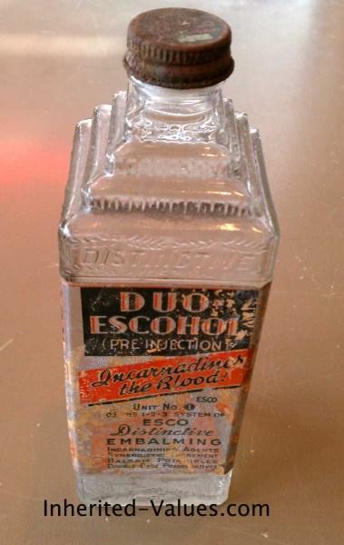 duo-escohol embalming fluid bottle