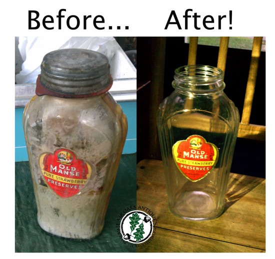 old preserves bottle before after