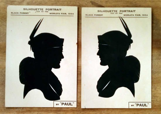 vintage silhouette portaits by paul 1934 lady wearing hat