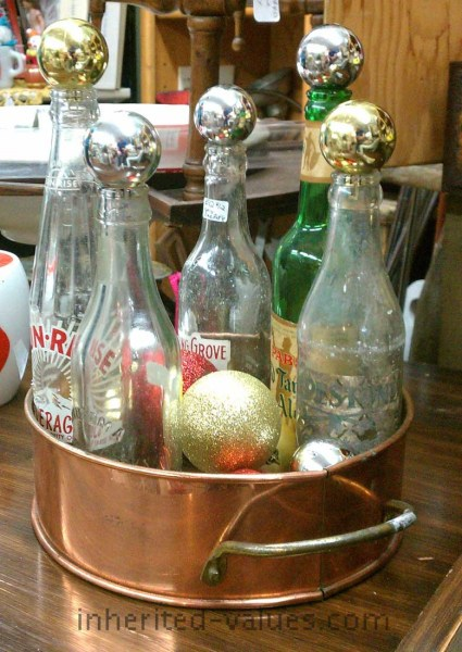 festive vintage soda pop bottle collection display