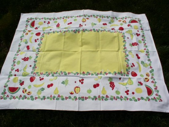 Vintage Tablecloth Strawberry Cherry Watermelon Fruit Print