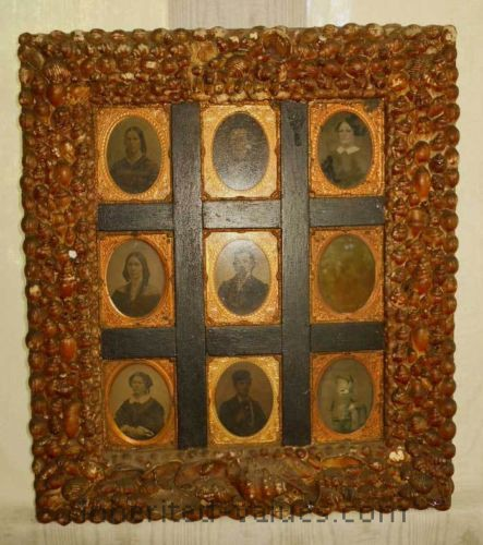 Antique Sea Shell Display Frame Wall Sailors Valentine Folk 9 Ambrotypes 1860s