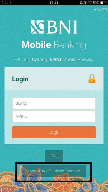 lupa pin mobile banking