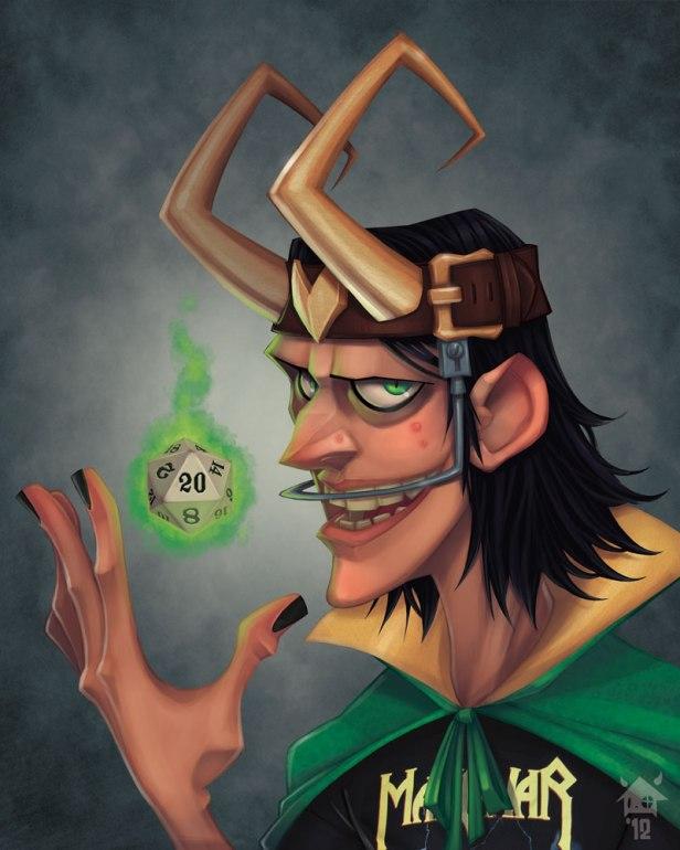 Ilustrações de Jovens super vilões na escola: Loki, o RPGista