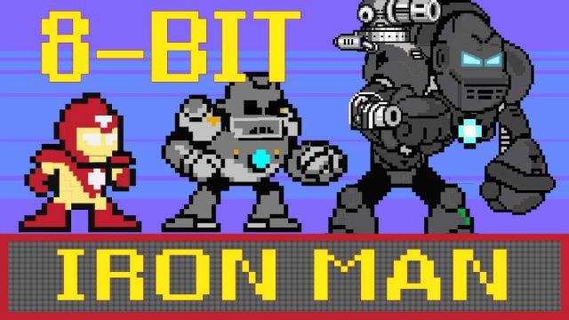Homem de Ferro, em 8 bits, no estilo MegaMan