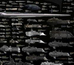 Uma gigantesca esquadra com naves de ficção científica