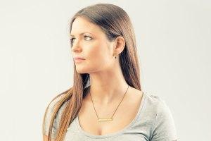 horizontal brass mini necklace