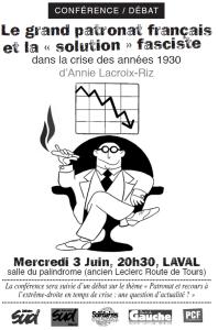 Le grand patronat français et la solution fasciste – conférence d'A Lacroix-Riz [Laval 3 Juin]